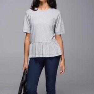 Lululemon Grey Ruffle bottom short sleeve tee top